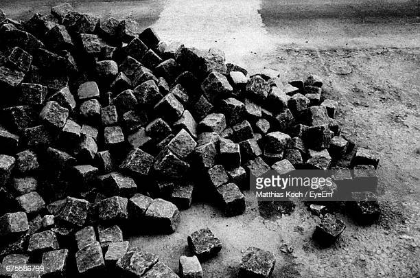 High Angle View Of Heap Of Coal Cubes