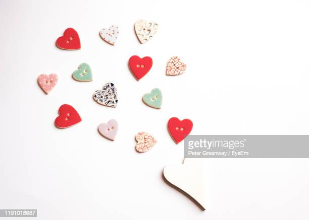 high angle view of heart shape over white background - bicester village stock pictures, royalty-free photos & images