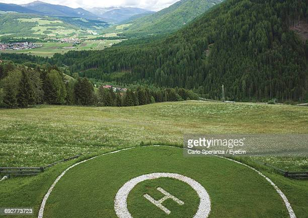 High Angle View Of Helicopter Pad In Mountains