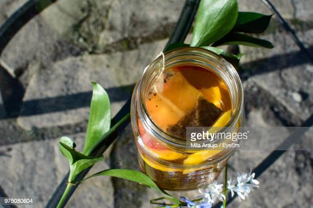 High Angle View Of Herbal Tea In Jar