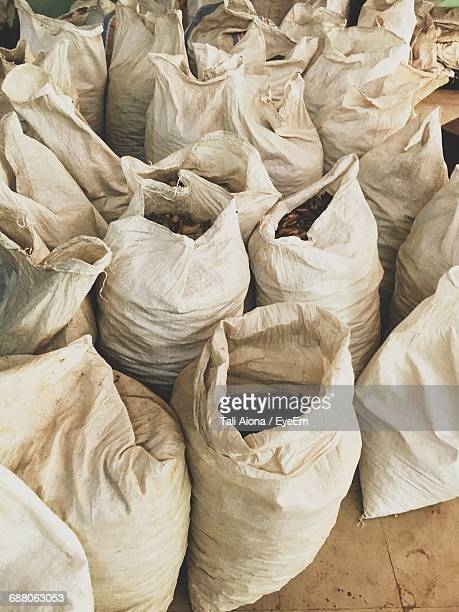 High Angle View Of Herbs In Sacks For Sale At Market