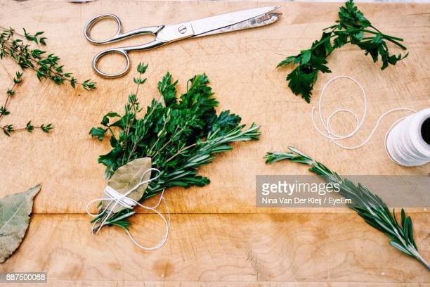 High Angle View Of Herbs On Cutting Board