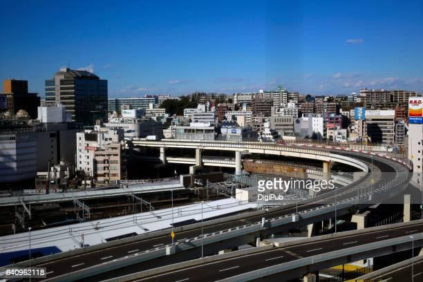High angle view of highway in Yokohama thru window