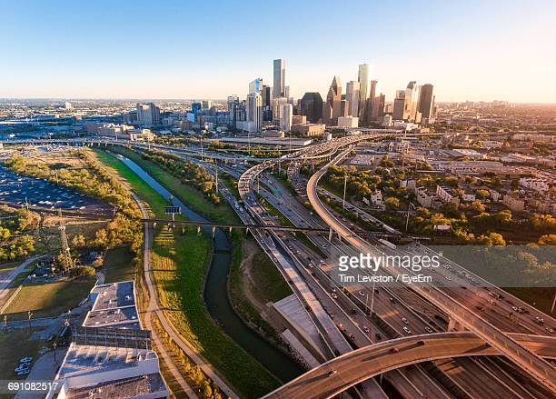 high angle view of highways in city - texas stock pictures, royalty-free photos & images