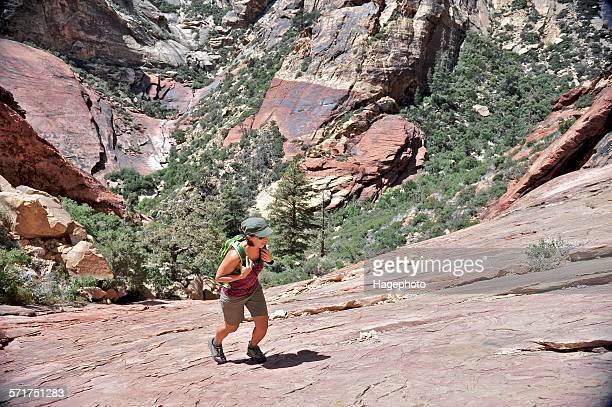 High angle view of hiker walking up rock slope, First Creek, Las Vegas, Nevada, USA