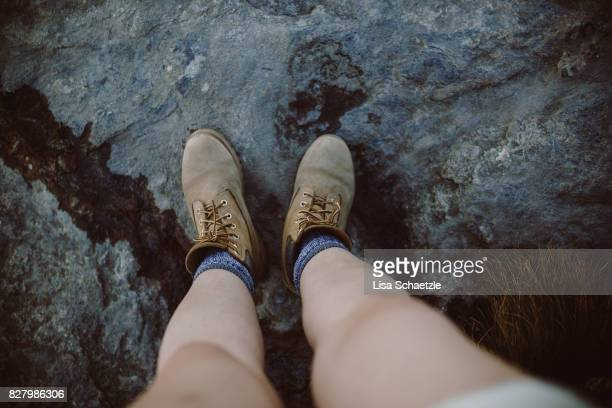 High angle view of hiking boots