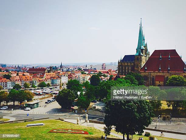 high angle view of historic building and cityscape against sky - erfurt stock pictures, royalty-free photos & images