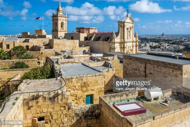 high angle view of historic district with kathedral in victoria, gozo island - ラバト ストックフォトと画像