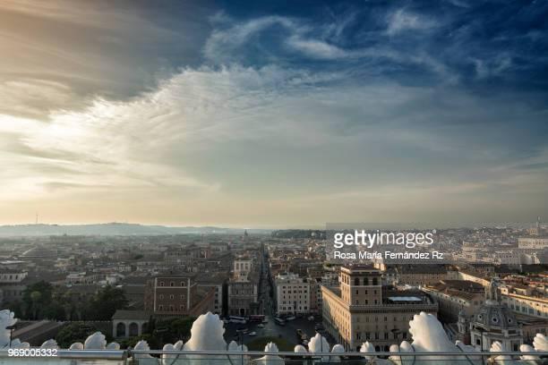 high angle view of historic old town of rome with via del corso and piazza venezia in background, rome, lazio, italy, europe - centro storico foto e immagini stock