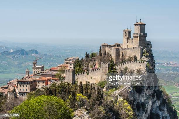 high angle view of historical building - castle stock photos and pictures