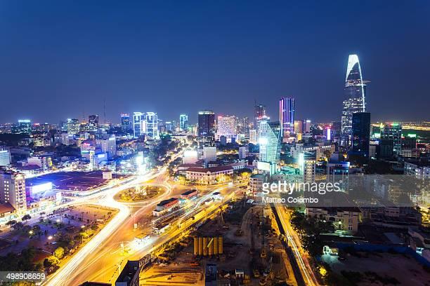 High angle view of Ho Chi Minh city at dusk