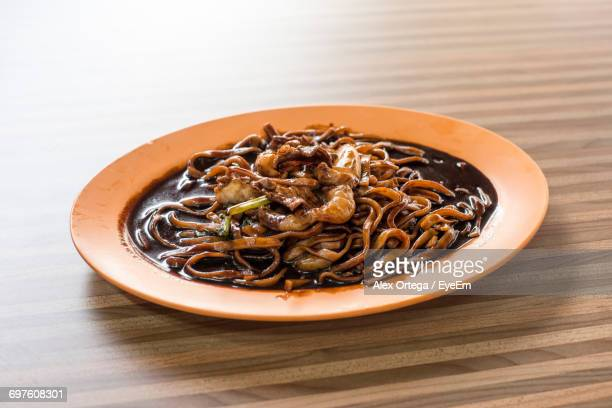 High Angle View Of Hokkien Mee In Plate On Table