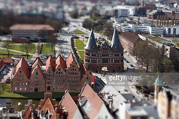 High Angle View Of Holstentor Gate