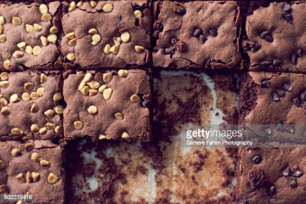 High angle view of homemade chocolate brownies