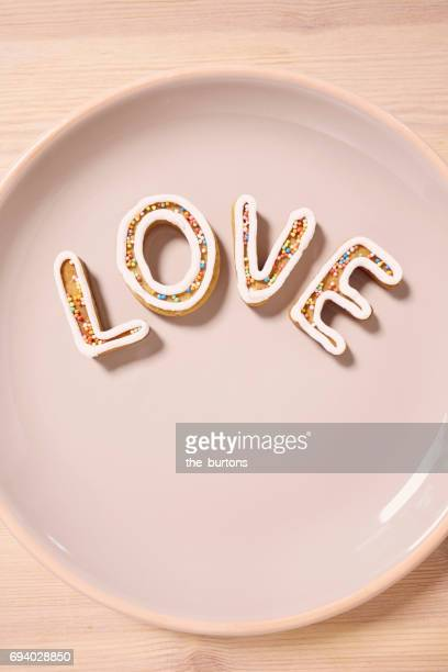 High angle view of Homemade Cookies, Spell Love