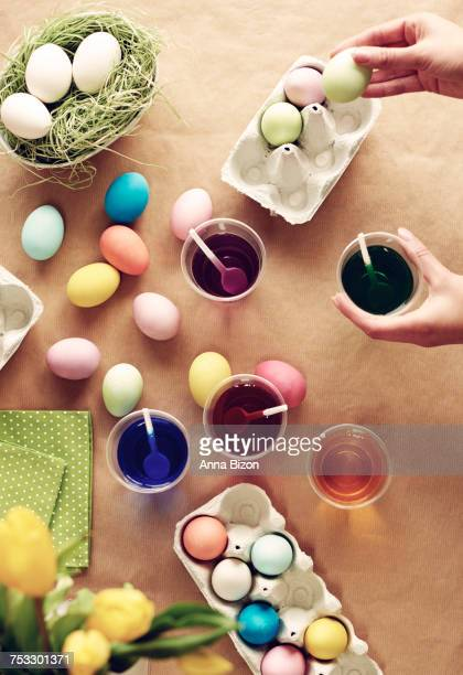 High angle view of homemade Easter eggs. Debica, Poland