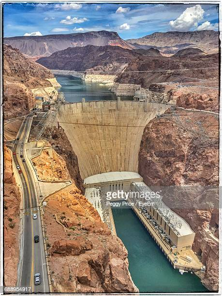 high angle view of hoover dam at nevada - hoover dam stock photos and pictures