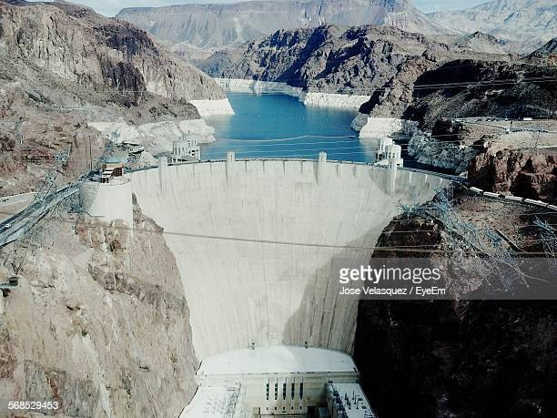 high angle view of hoover dam - hoover dam stock photos and pictures