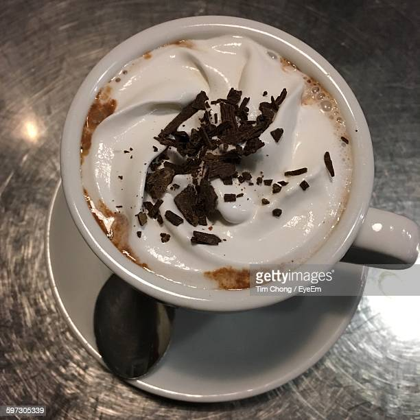 High Angle View Of Hot Chocolate On Table