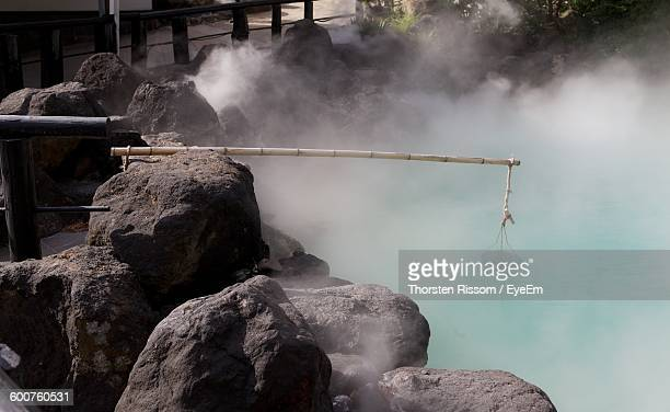 High Angle View Of Hot Spring Amidst Rocks At Park