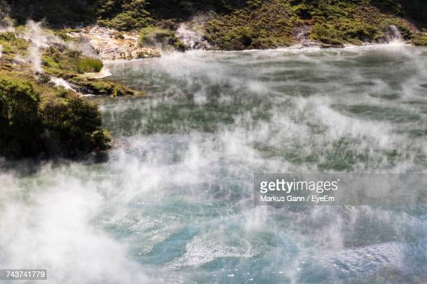 High Angle View Of Hot Spring During Sunny Day
