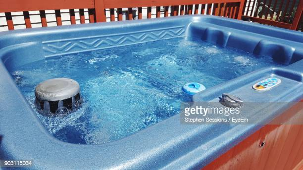 high angle view of hot tub at tourist resort - hot tub stock photos and pictures
