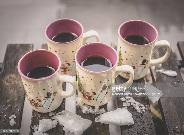 High Angle View Of Hot Wines In Mug During Winter