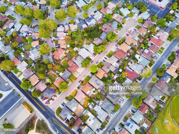 High Angle View Of Houses And Trees In City