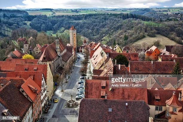 High Angle View Of Houses At Rothenburg Ob Der Tauber