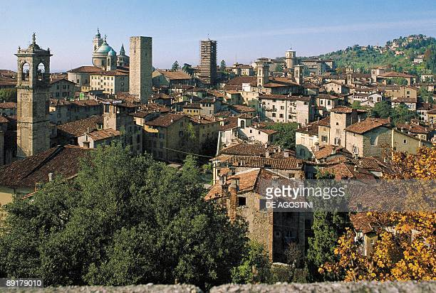 High angle view of houses in a city Bergamo Lombardy Italy