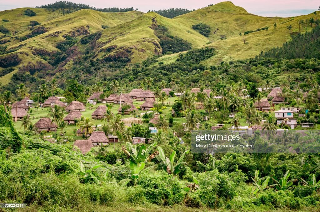 High Angle View Of Houses In A Field : Stock Photo