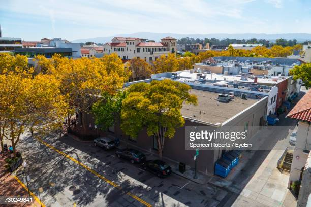 high angle view of houses in town against sky - palo alto stock pictures, royalty-free photos & images