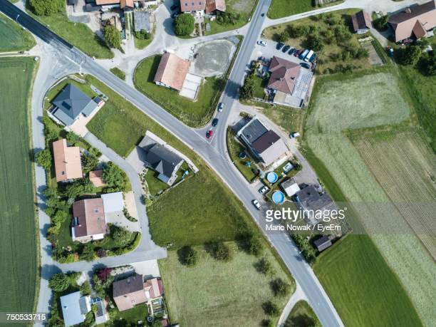 High Angle View Of Houses On Field