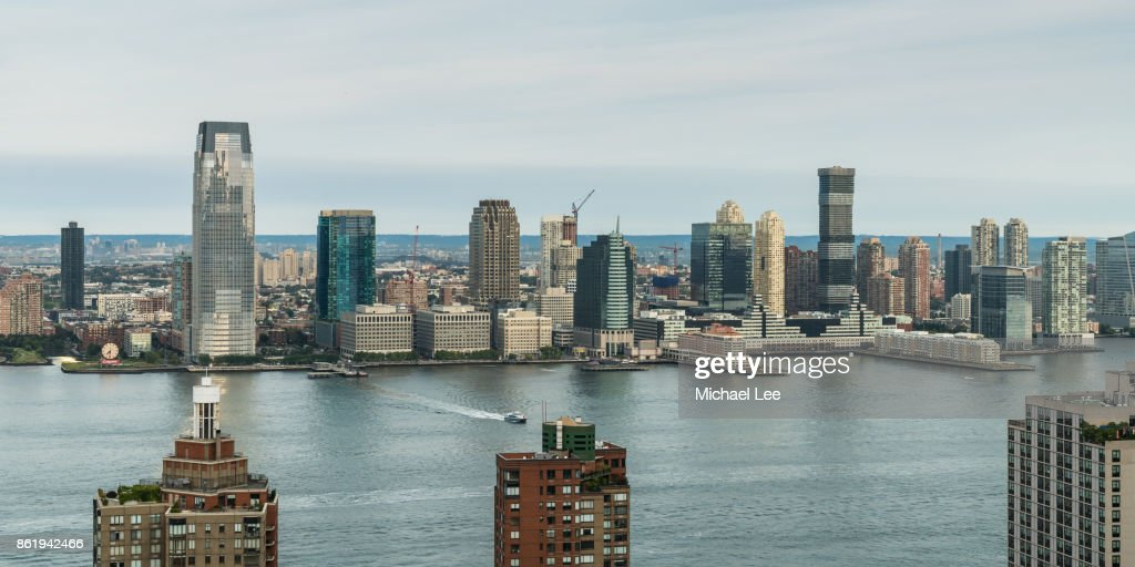High Angle View of Hudson River and Jersey City, New Jersey : Stock Photo