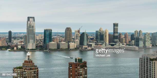 High Angle View of Hudson River and Jersey City, New Jersey