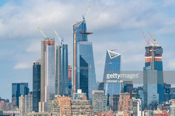 high angle view of hudson yards - new york - hudson yards stock pictures, royalty-free photos & images