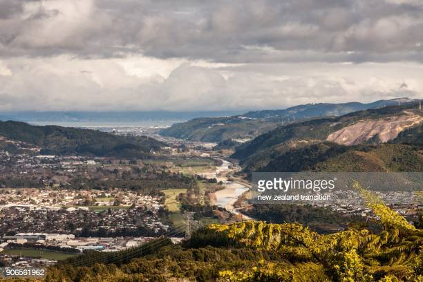 high angle view of hutt river through hutt valley, wellington - valley stock pictures, royalty-free photos & images