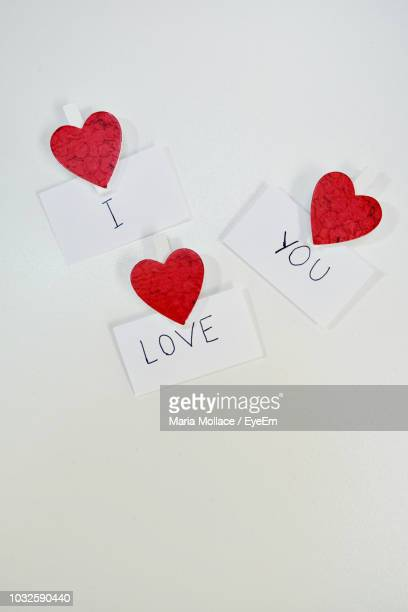 high angle view of i love you text on white background - i love you photos et images de collection