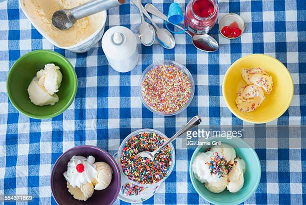 High angle view of ice cream sundaes