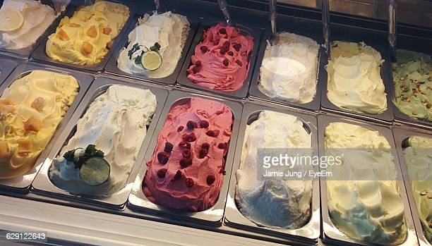 High Angle View Of Ice Creams For Display At Shop