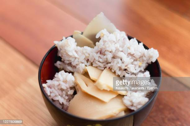 high angle view of ice takenori gohan in bowl on table in japan - koukichi stock pictures, royalty-free photos & images
