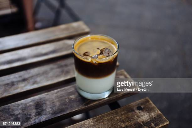 High Angle View Of Iced Cappuccino On Table In Restaurant