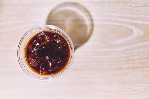 High Angle View Of Iced Coffee On Table - gettyimageskorea