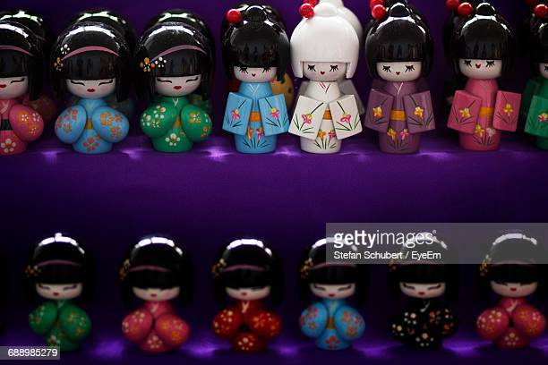 High Angle View Of Ichimatsu Dolls For Sale At Shop