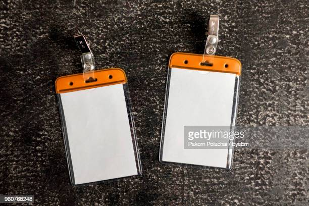 High Angle View Of Id Cards On Table