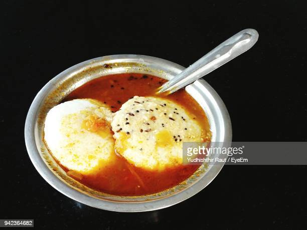 High Angle View Of Idli In Bowl On Table