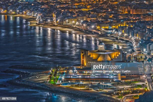 high angle view of illuminated buildings in gran canaria at night - las palmas de gran canaria stock pictures, royalty-free photos & images