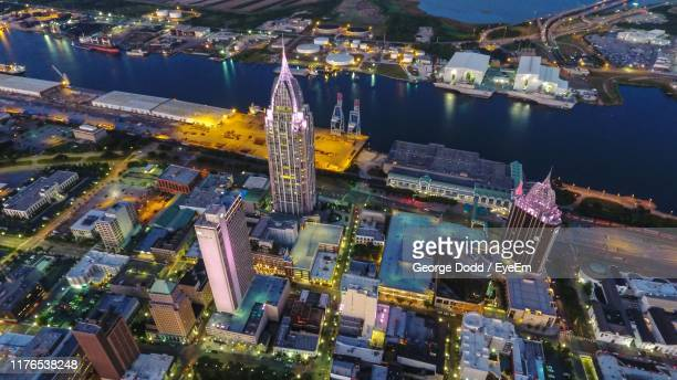 high angle view of illuminated city buildings - gulf coast states fotografías e imágenes de stock