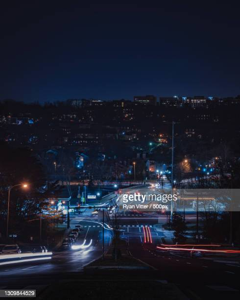 high angle view of illuminated city street at night,arlington,virginia,united states,usa - arlington virginia stock pictures, royalty-free photos & images