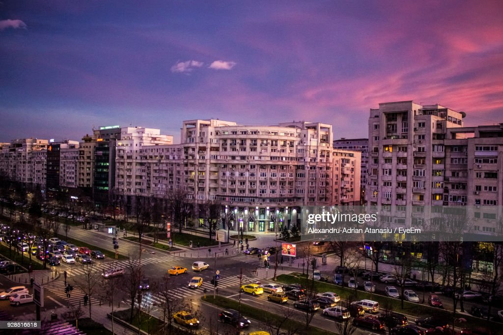 High Angle View Of Illuminated Cityscape Against Sky At Night : Stock Photo